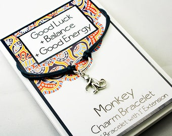 Friendship Charm Bracelet - Monkey Charm Bracelet - Set your Intention - Mantra Bracelet - INT029