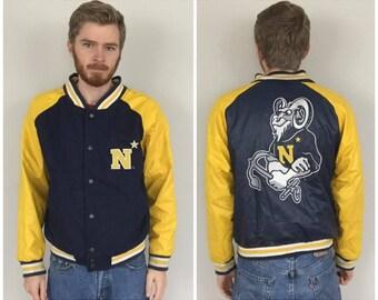 90s USNA Annapolis Navy Wool Varsity Jacket size MEDIUM ~ 55495