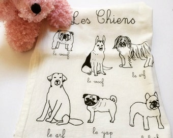 Dog Tea Towel, Dog Towel, French Inspired