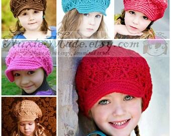 2T-4T Newsboy Choose Your Color hat Winter hat Girls Crochet hat Apple Cap Hat for Girls Childrens hat Kids Hat Custom hat Fall Hat