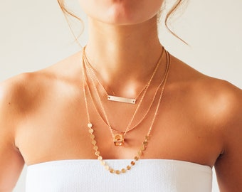 Gold Necklace | Multi Layer | Long Necklace | Handwriting Jewelry | Box Necklace | Layer Choker | Simple Necklace | Mother's Day