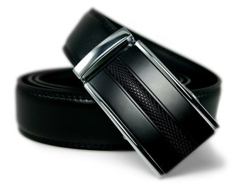 "Automatic Belt Buckle Genuine Leather Belt for Wedding Grooms or Best Man Gift ""Demure"""