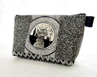 Large Ghastlies Cosmetic Bag Zipper Pouch Padded Ghastly Fabic Makeup Bag Zip Pouch Smoke Gray Black Cat Sebastian Ghastlie Gallery GGS