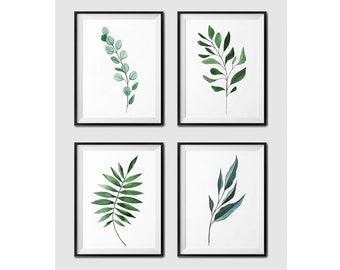 Set of 4 botanical prints for Instant Download / Botanical drawing / Botanical print / Modern art / Modern Minimal / botanical set of 4