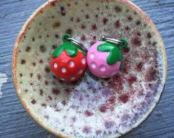 Berries & Bells: Vintage-Inspired Strawberry Bell Charm Stitch Markers for Knitters and Crocheters