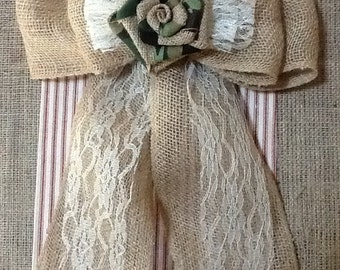 "12"" Wide Burlap & Camoflage Flower Pew Bow Chair Wedding Venue Hunting Rustic Cottage Chic Primitive"