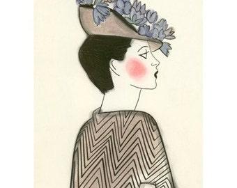 Fashion drawing -  Iris -  4 X 6 print - 4 for 3 SALE