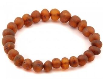 Genuine Raw Baltic Amber Stretch Bracelet Cognac