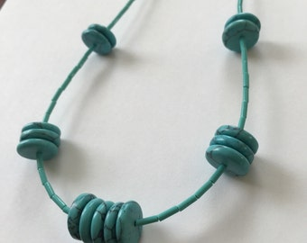 "Turquoise large flat discs and tubes necklace set 24 or 36"" inch long"