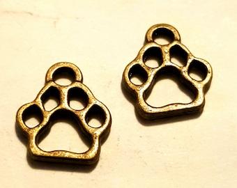 Bronze Paw Print - 10 pc - Bronze Paw Charm - Bronze Dog Charm - Bronze Cat Charm - Animal Charm -  Dog Paw Charm - Cat Paw Charm