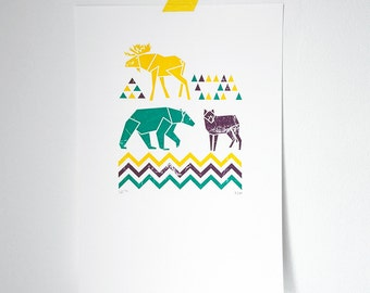 Moose Wolf Bear Geometric screen print with vintage texture / woodland and triangles illustration limited edition unique christmas gift (A4)