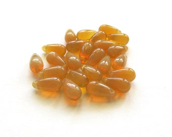 Smooth Milky Golden Topaz Czech Glass Teardrop Briolettes, 10mm x 5mm - 25 pieces