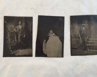 Antique Tin Type Photographs, Lot of 3, Victorian Tintype Photos, Antique Baby Photo, Victorian Baby Christening Photo