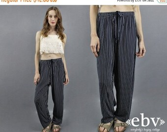 90 s pantalon des années 1990 pantalons pantalon rayé pantalon marine des années 90 pantalon travail pantalon jour pantalon Pantalon léger pantalon bleu marine nautique pantalon M L