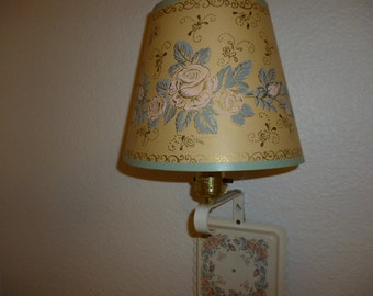 Shabby Chic Wall Lamp ~ Vintage Lighting ~ Girls Room Decor ~  Sconce White With Pink Roses ~ Wall Sconce with Flowers ~ Home Decor