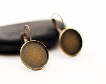 BRONZE 18mm-10 pairs of earrings + glass cabochons