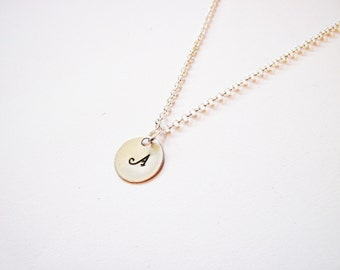 Personalized Initial Necklace, personalized necklace, one disc Sterling Silver necklace, engraved monogrammed necklace hand stamped necklace