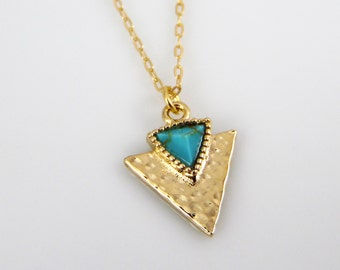 Turquoise and gold triangle necklace, 14k gold filled arrow necklace, hammered triangle with turquoise, long triangle necklace