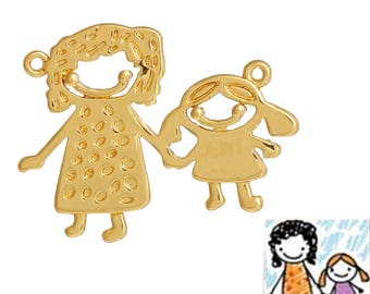 """Connector for """"child's drawing"""", MOM and girl, gilded copper jewelry"""