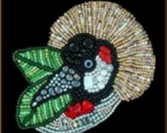 Beautiful Grey Crowned Crane Bead Embroidery KIT by Kristy Zgoda
