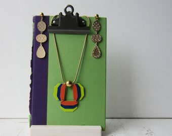 One Clipboard Display Stand with Handmade Wood Stand - Display for Jewelry / Photos / Art
