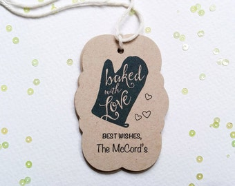 Baked with Love - Oven mitt baking tags - Kraft Bakers tags - Cooking party tags - customized holiday treat tags (TM-07