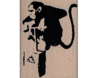 Rubber stamp Banksy   Monkey With Detonator    Anarchist   stamping graffiti outsider art play  craft supplies number  20071