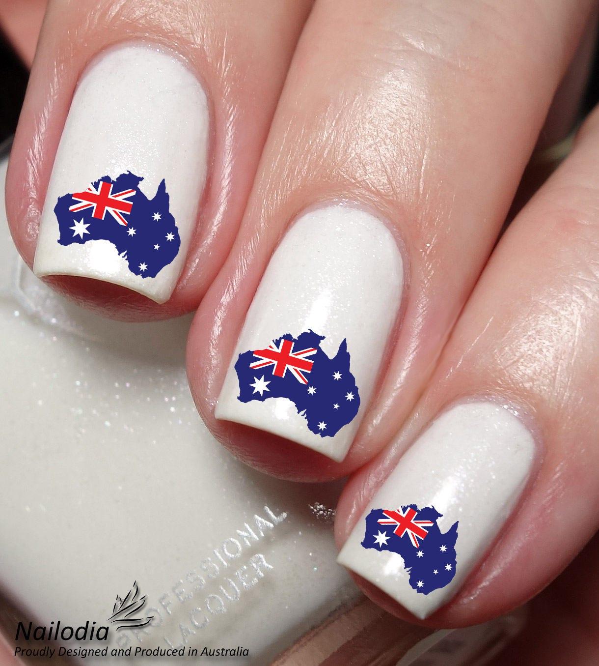 Australia Day Aussie Map Nail Art Sticker Water Transfer Decal