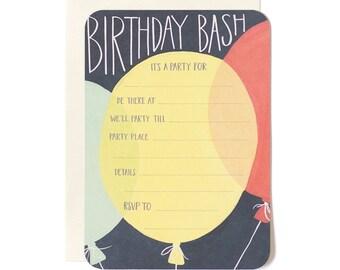 Birthday Bash Fill in the Blank Invitation // 1canoe2 // Hand illustrated
