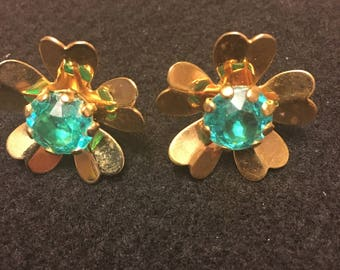 Blue/green Crystal and Gold Earrings