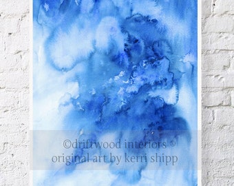 Abstract Watercolor - Ombre in Denim 11 x 14 - Modern Abstract Print - Contemporary Abstract Giclee - Blue Watercolour Print