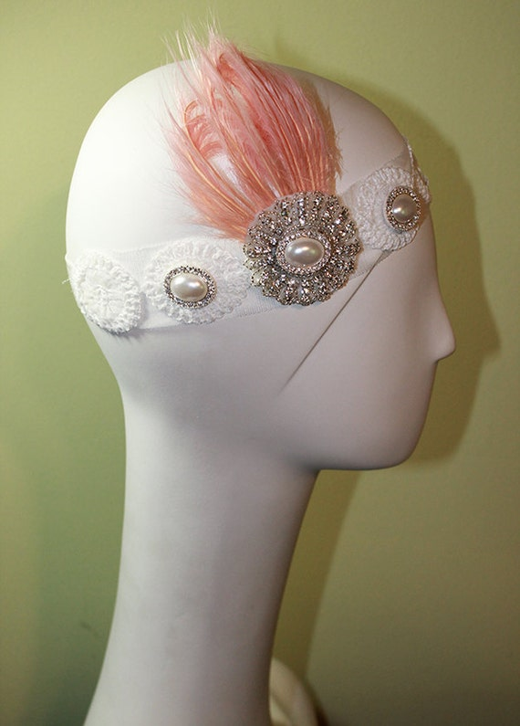 1920s Style White Headband - Vintage Inspired - Flapper Headband - Bridal - Pink Feather - OOAK