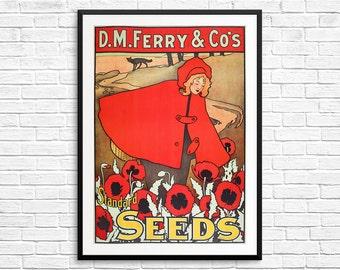 Seed poster, garden posters, gardener gifts, garden art, poppy flowers, poppies art, vintage seed posters, vintage farm art, vintage decor