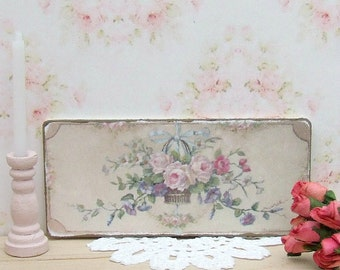 Dollhouse Miniature, Flower Basket Sign, Wall Panel, Floral Picture, French Decor, Aubusson Print, Shabby Cottage Chic, 1:12th Scale