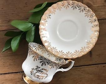Royal Albert, Royal Imperial Happy Anniversary Gold, Floral Vintage Teacup Set Bone China