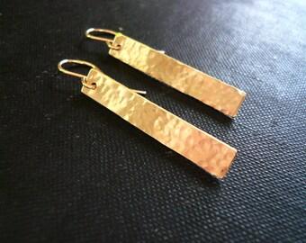 Hammered Gold Bar Earrings in 14K Gold Filled - Simple Geometric Earrings, Long Gold Filled Hammered Rectangle Earrings