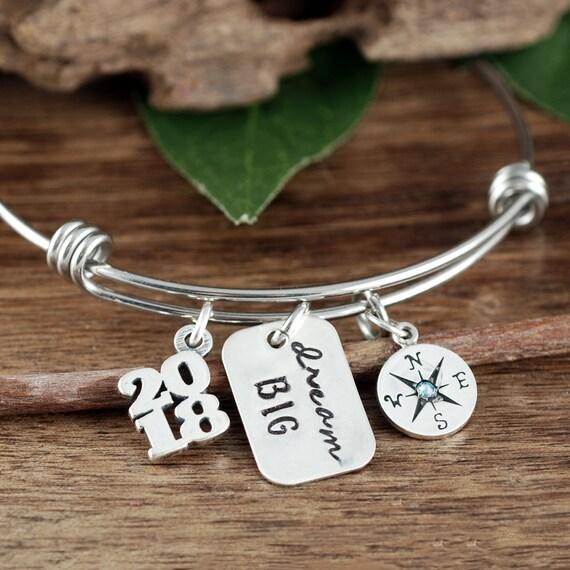 Graduation Bracelet, Personalized Compass Bracelet, Dream Big, Inspirational Gift, Class of 2018 High School, College Graduation Gift