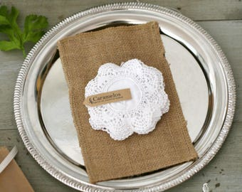 """White Crochet Cotton Doilies 3.5"""" - Boho style/wedding decor/favors/DIY bunting/photo prop/gift packaging"""