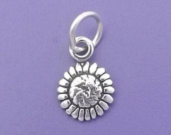 SUNFLOWER Charm .925 Sterling Silver, Sun Flower, MINIATURE Small - elp1738