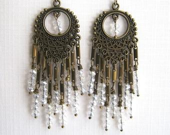 Brass and Clear Crystal Chandelier Earrings Long Chandelier Earrings