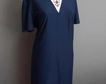 Vintage Sailor Dress Navy Blue Nautical