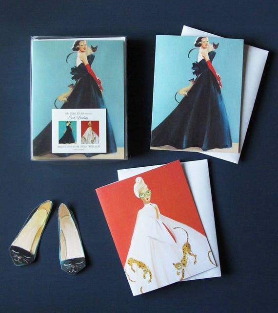Cat Ladies. Box Set of 8 Blank Cards.