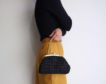 VINTAGE Handbag Clutch Black Raffia Woven Straw Small