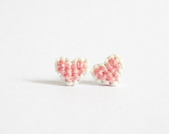 Pink heart cross stitch earrings, gifts under 15, gifts for her, bridesmaid gift, gifts for girls, Pantone 2016, Rose Quartz, bestfriends