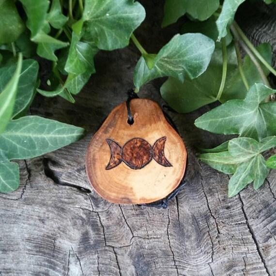 Apple Triple Goddess Pendant, Triple Goddesse Charm, Goddess Necklace, Goddess Jewellery, Apple Pendant, Wood Pendant