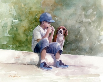 Boy and His Dog Friend  Art print of Watercolor Painting -  Child, Pet, Boy's Room, Friendship, childhood, Companion
