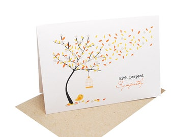 Sympathy Card | Thinking of You Card | Bereavement Card | Orange Fall Autumn Tree | Condolence Card | Sorry Card | Card Sympathy | WDS017
