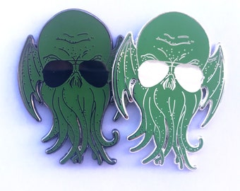 """limited edition Coolthulhu cthulhu  nickle 1.7"""" double posted enamel hat pin"""