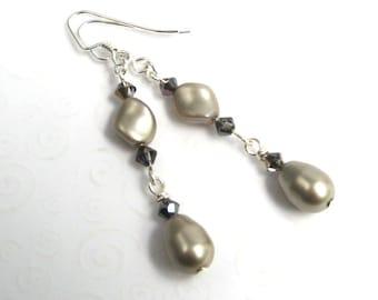 Platinum Pearl Earrings, Beige Pearl Drop Earrings, Swarovski Faux Pearl Classic Teardrop Earrings