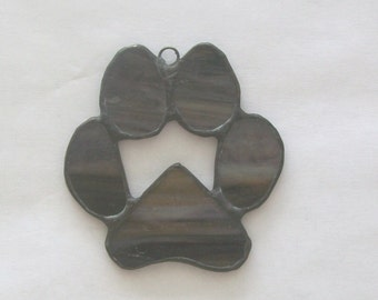 Paw print stained glass memorial pet memory keepsake pet loss suncatcher